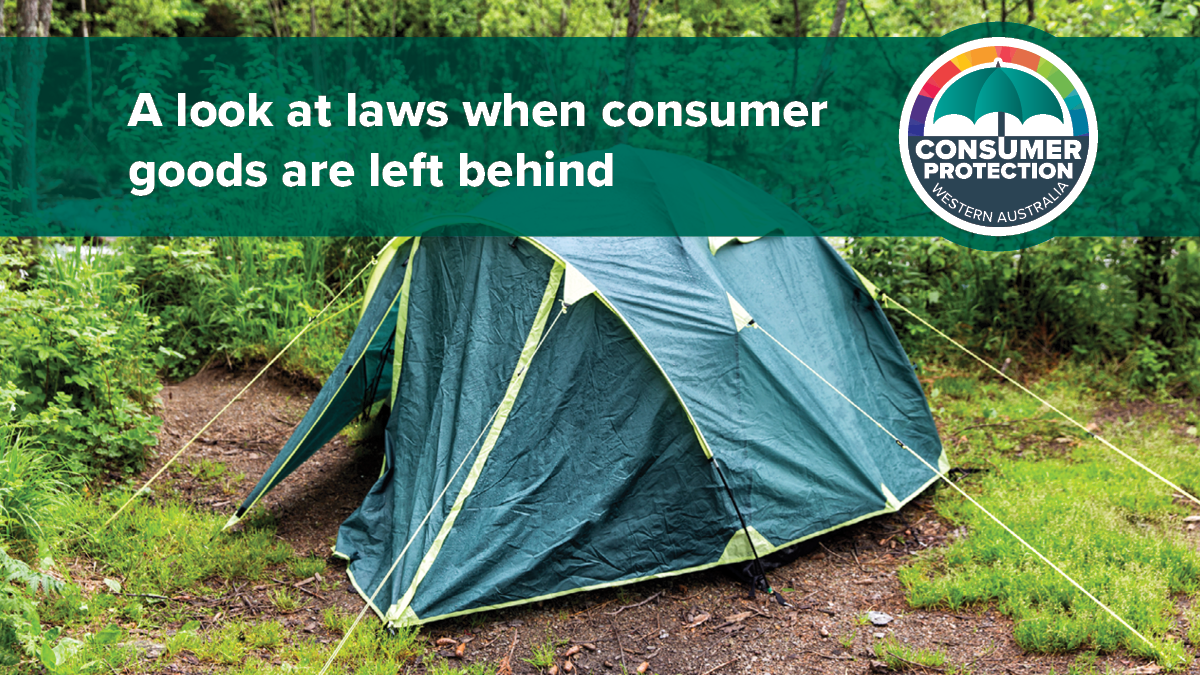 Disposal of Uncollected Goods Act Review graphic (tent and Consumer Protection logo)