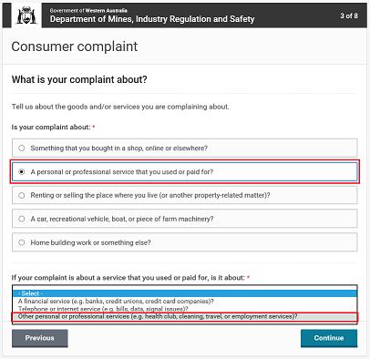 CP online form - travel complaints