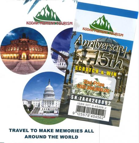Malaysian travel brochure and fake scratchie scam - Kodak Moment Tourism