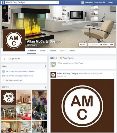 Allan McCarty Designs fake Facebook page