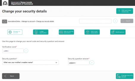 AssociationsOnline security details update