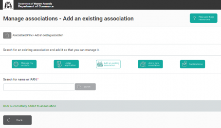 AssociationsOnline Add existing assoc