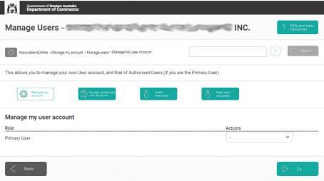 AssociationsOnline Manage my user account