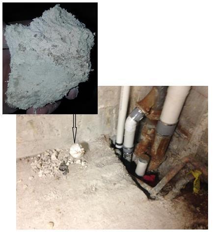Work area showing asbestos-containing debris and close up of asbestos-containing debris