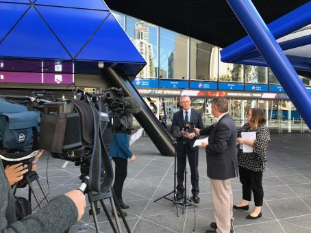 David Hillyard outside Perth arena issuing ticket scalping warning