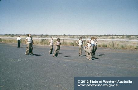 Easter 1962 Wittenoom sack race on tailings raceway