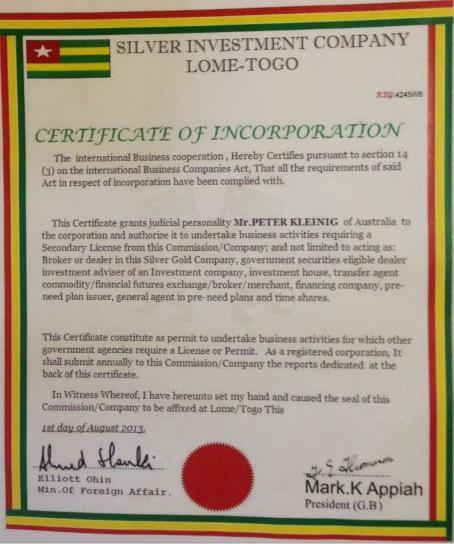 Fake Investement Certificate