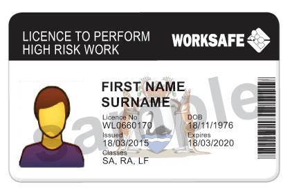 High Risk Work Licence card