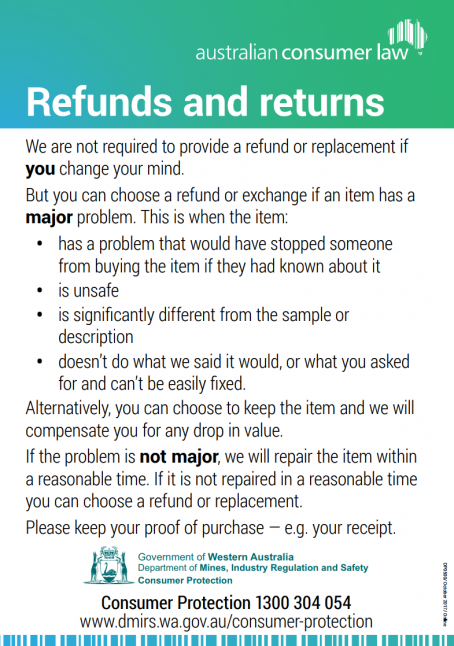 Refunds and returns sign