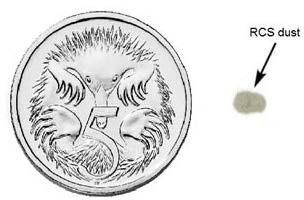 The workplace exposure standard for RCS is exceeded when the amount of dust a worker breathes over a full shift contains more RCS than the amount shown here next to the five cent piece. However workers may still suffer adverse effects from lower levels.